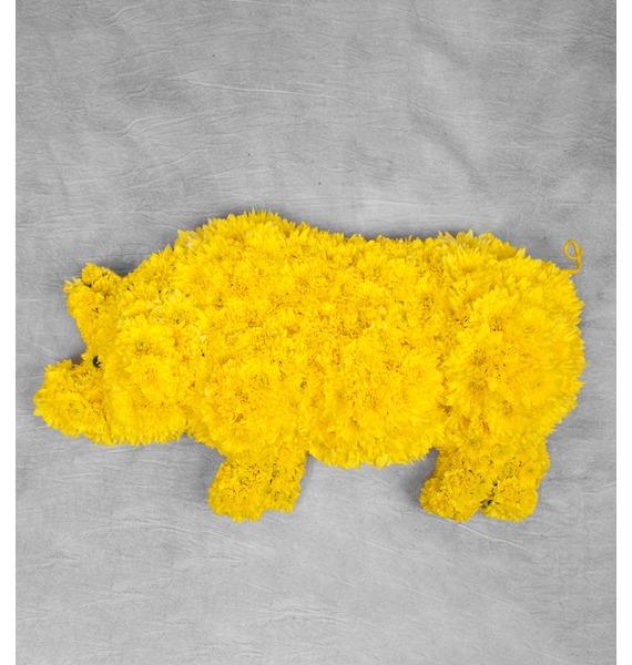 Композиция Год желтой свиньи композиция из 501 или 1001 желтой розы золото