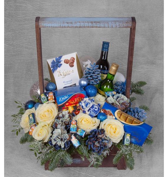 Подарочное кашпо Русская зима (Вино в подарок) – фото № 1