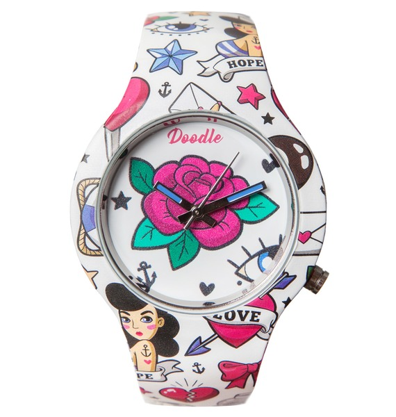 Часы Doodle Роза часы doodle белый череп