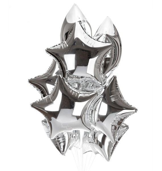 Букет шаров Серебряные звезды (9 или 18 шаров)