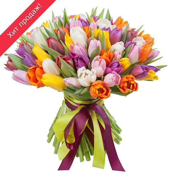 Букет из тюльпанов «Краски любви» (75 или 101) букет дыхание осени