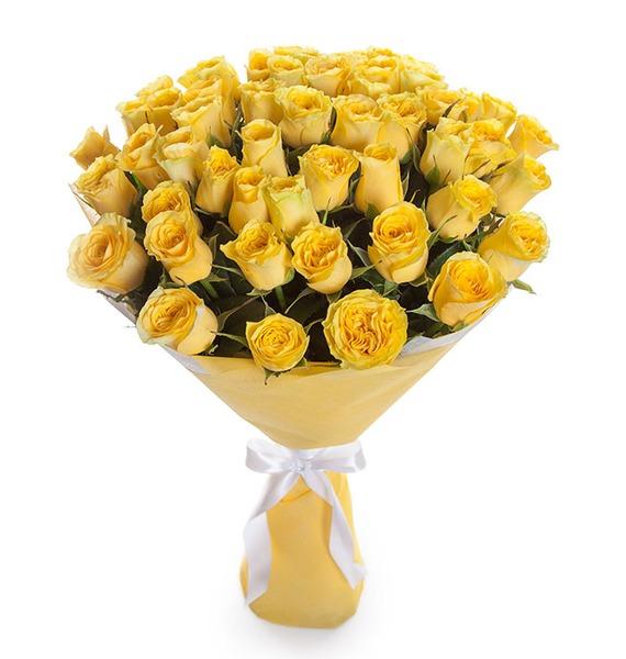 Букет из 51 желтой розы Кусочек солнца цена