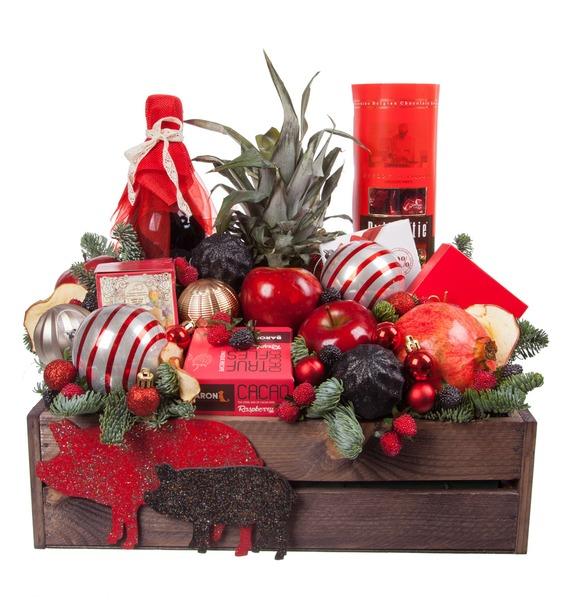 Подарочное кашпо Новогодняя эйфория (Красное вино в подарок) – фото № 4