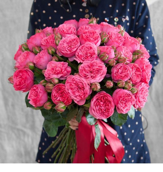Букет из пионовидных роз Pink Piano (15, 25 или 51) – фото № 1