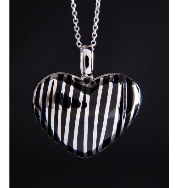 Колье из серебра с каучуком Сердце