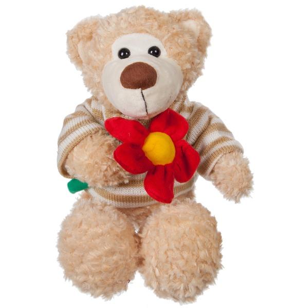 Мягкая игрушка Мишка Теодор с цветком (38 см)