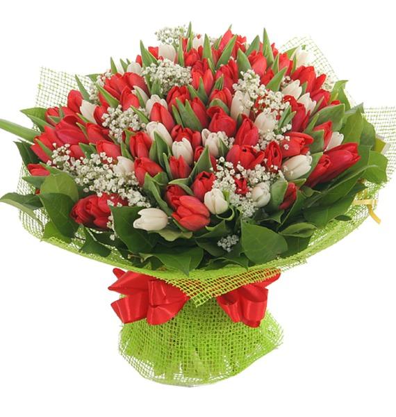 Букет из 151 тюльпана Горячее танго кабель 3 5 на два тюльпана