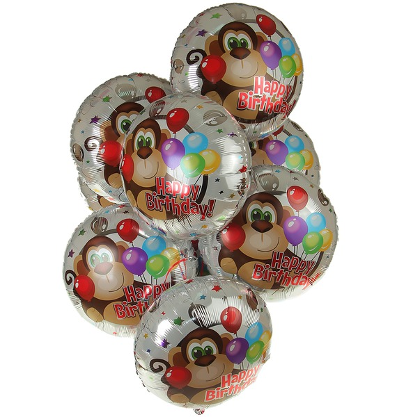 Букет шаров из 9 шаров С Днём Рождения! – фото № 1