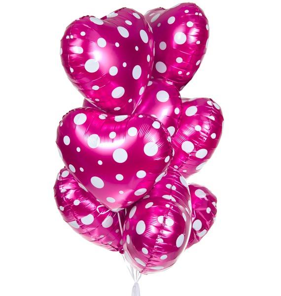Фото - Букет шаров Сердечки (9 или 18 шаров) букет шаров красные сердца 9 или 18 шаров