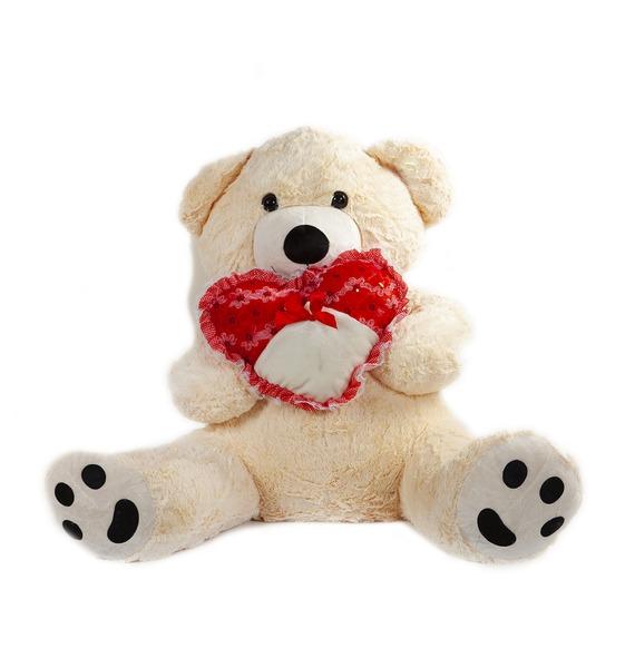 """Мягкая игрушка """"Медведь в шарфе с сердцем"""" (90 см)"""