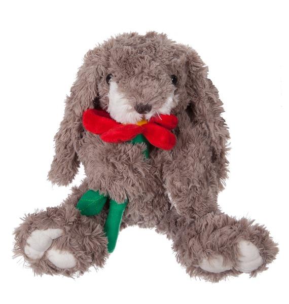 Мягкая игрушка Заяц Гарольд с цветком (23 см) игрушка заяц в новогодней одежде музыкальный 25 см