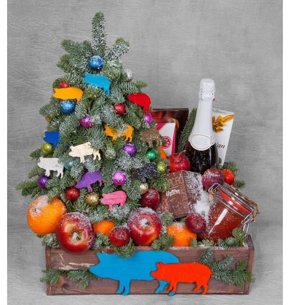 Подарочное кашпо Праздник души (Игристое вино в подарок) – фото № 1