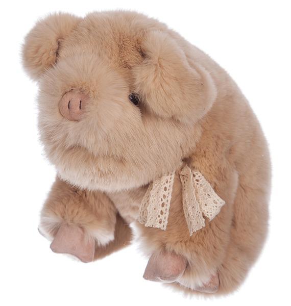 Игрушка из натурального меха Поросёнок рюкзак заяц из натурального меха