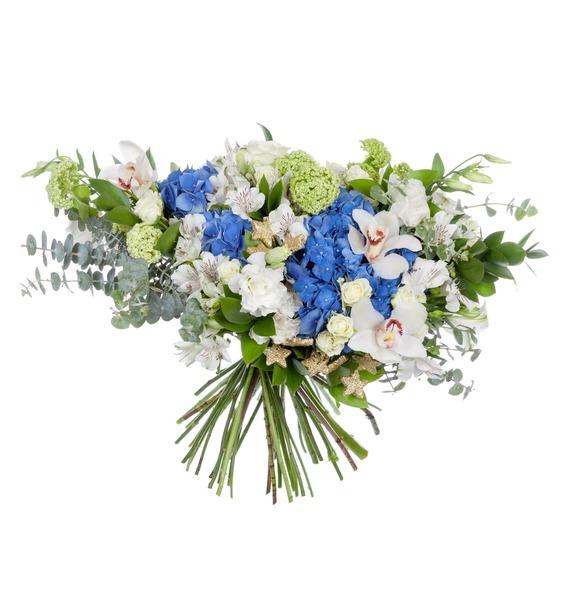 Букет Бело-синий шубница 28 5 15 5 5 5 см 900 мл павлин синий 1212595