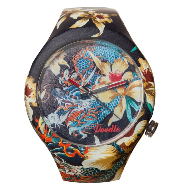 Часы Doodle Орхидеи и дракон