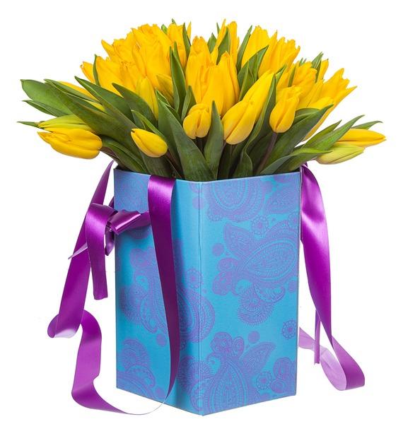 Композиция из желтых тюльпанов в вазе – фото № 4