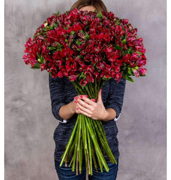 Bouquet Ruby (25, 51 or 101 alstroemeria) – photo #1