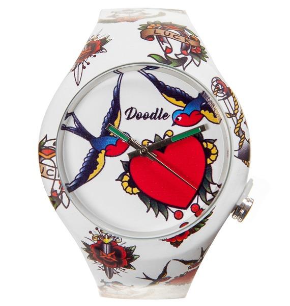 Часы Doodle Ласточки часы doodle белый череп