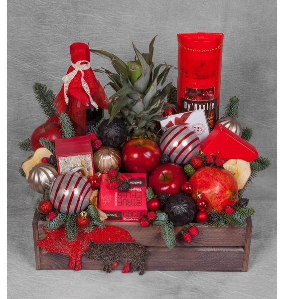 Подарочное кашпо Новогодняя эйфория (Красное вино в подарок) – фото № 1