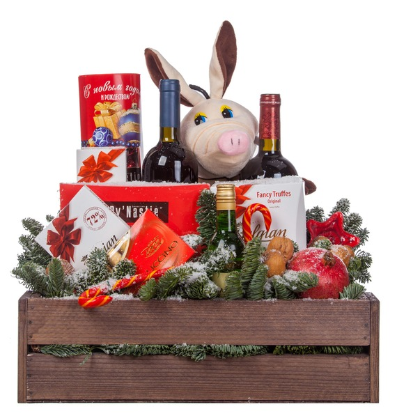 Подарочное кашпо Год Хрюшки (Вино в подарок) – фото № 4