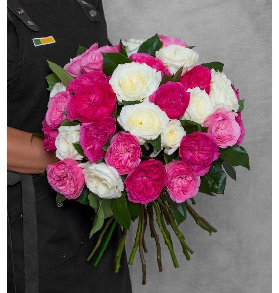 Букет из пионовидных роз Феерия (15, 25 или 51) букет из красных роз первый поцелуй 15 21 25 или 35