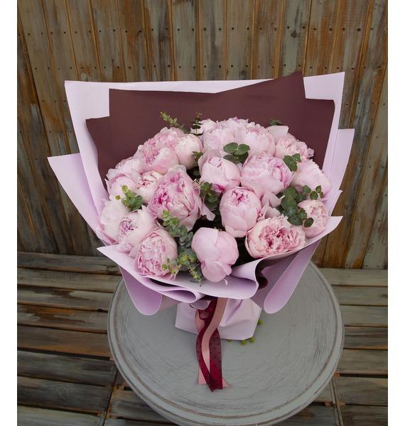 """Букет-соло пионов """"Sara Bernhardt"""" (15,25,35,51 или 75) картина прекрасный букет нежных розовых пионов 14 5 х 22 см"""