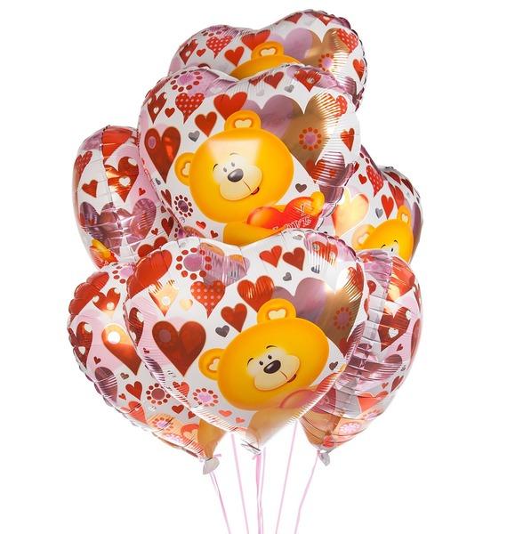 Букет шаров Мишка с сердцем (7 или 15 шаров)