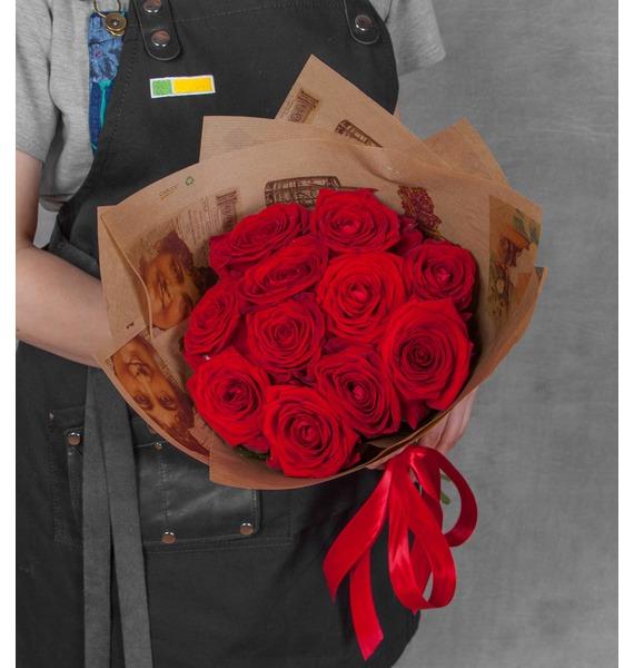 Букет из роз Дышу Тобой (9,15,21 или 25) букет из красных роз первый поцелуй 15 21 25 или 35