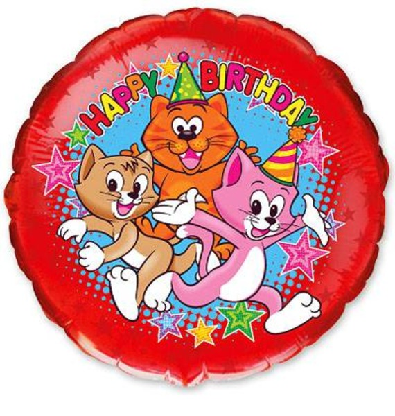 "Воздушный шар ""Happy Birthday"" (Котята на празднике)"