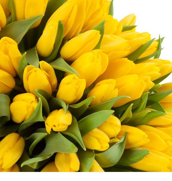 Букет из тюльпанов Солнечный сюрприз (25, 51, 101) – фото № 3