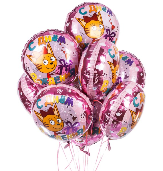 Букет шаров Три кота (9 или 18 шаров) букет шаров вечеринка 9 или 18 шаров