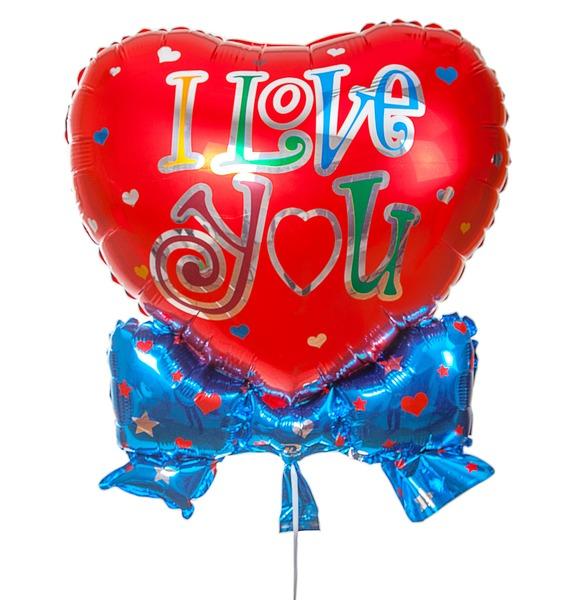 """Воздушный шар """"I love you"""" (46 см)"""