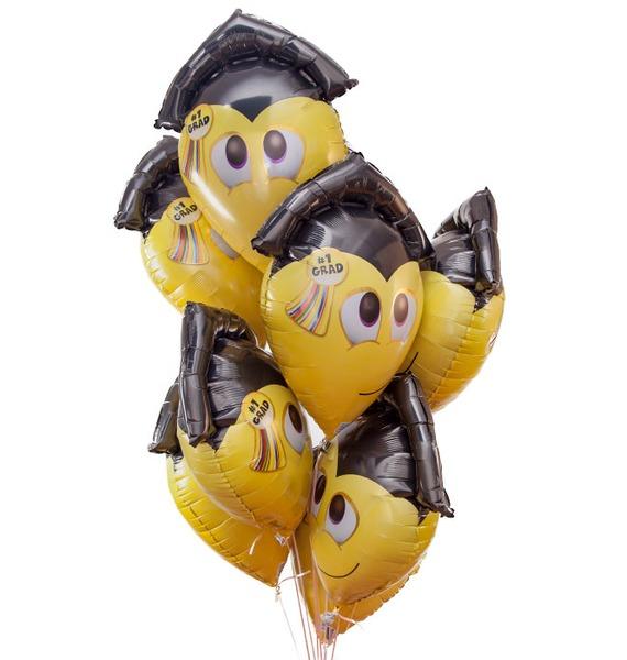Букет шаров Смайл-выпускник (9 или 18 шаров) букет шаров сладкий пончик 5 или 9 шаров