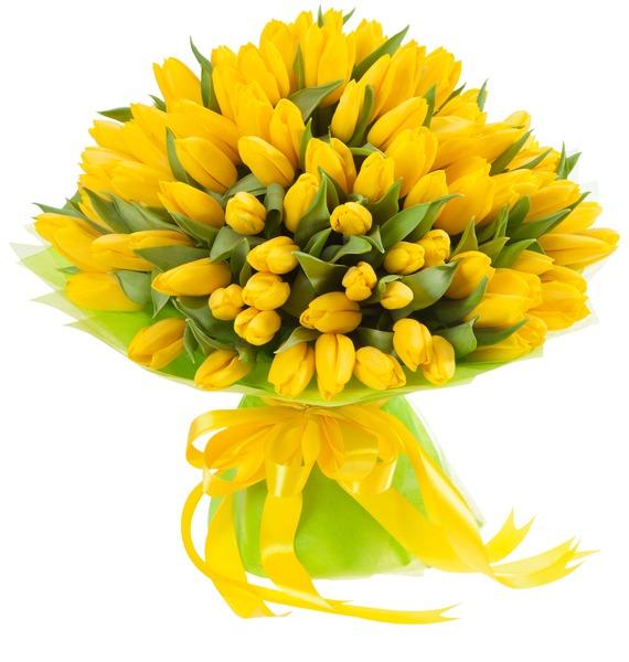 Букет из тюльпанов Солнечный сюрприз (25, 51, 101) – фото № 1
