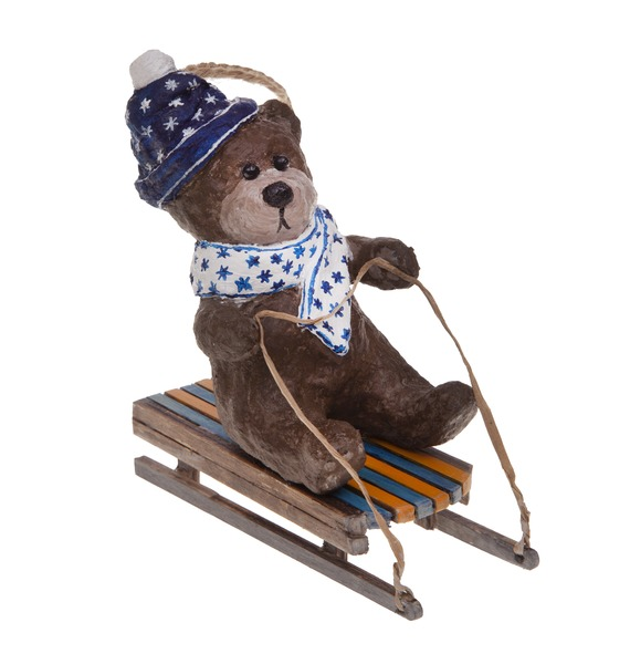 авторская игрушка ручной работы мишка тедди с любовью Ёлочная игрушка ручной работы Мишка на санках