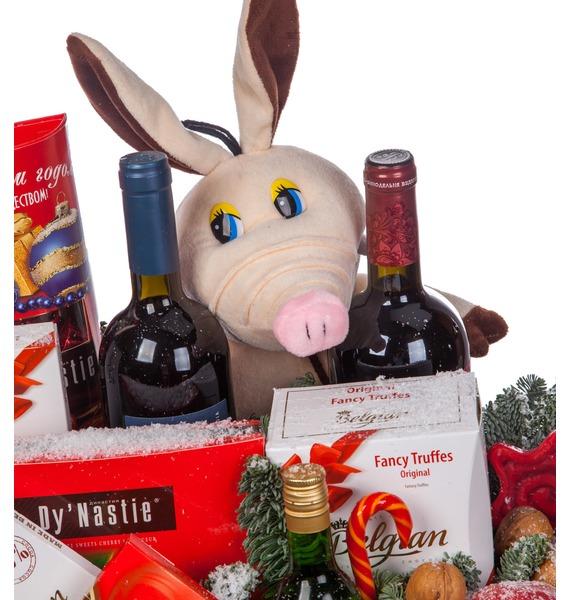 Подарочное кашпо Год Хрюшки (Вино в подарок) – фото № 3