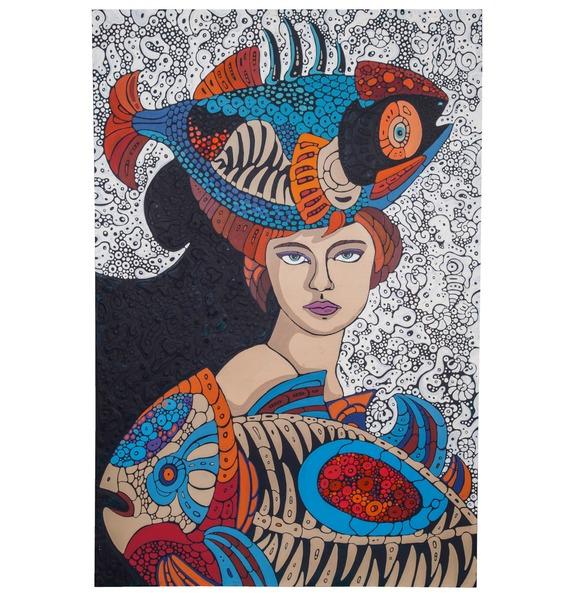 Авторская картина Дама с рыбами (75 Х 110 см)