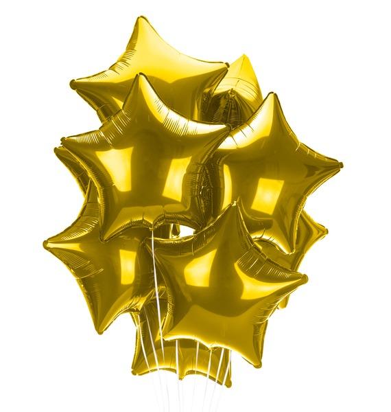 Букет шаров Золотые звезды (9 или 18 шаров) букет шаров сладкий пончик 5 или 9 шаров