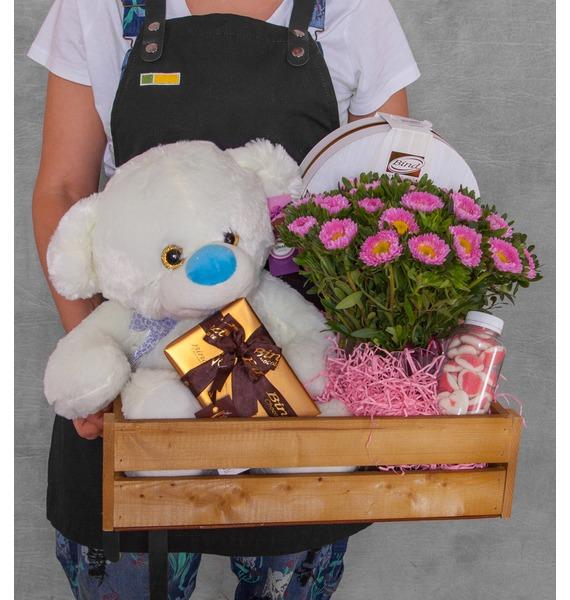 Подарочное кашпо с букетом Милой малышке подарочное кашпо для крепкого здоровья