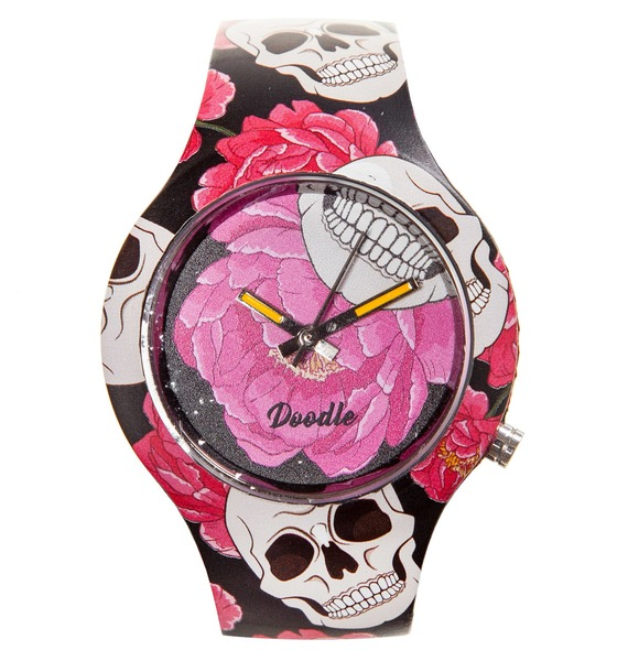 Часы Doodle Череп и Цветы часы doodle белый череп
