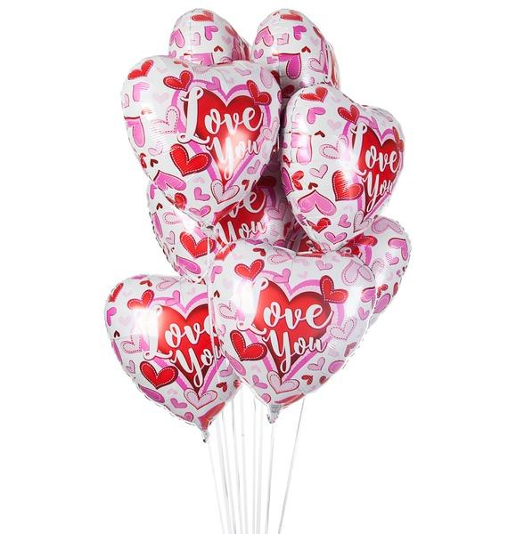 Букет шаров Влюбленные сердечки (9 или 18 шаров) букет шаров сладкий пончик 5 или 9 шаров