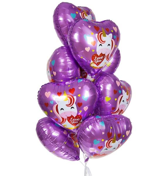"""Букет шаров """"Единорог и сердечки"""" (9 или 18 шаров) стоимость"""