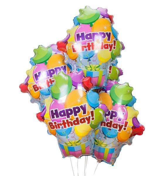 Букет из 5 шаров Связка шаров с подарком – фото № 1