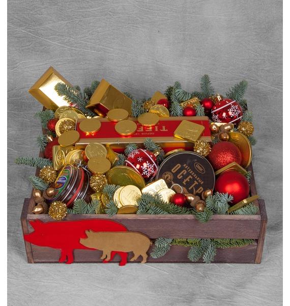 Подарочное кашпо Золотой вкус (Коньяк в подарок) – фото № 1
