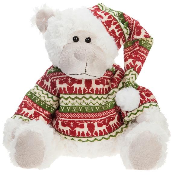 Мягкая игрушка Мишка Лесли в шапке и новогоднем свитере (20 см) игрушка мягкая мишка малышка
