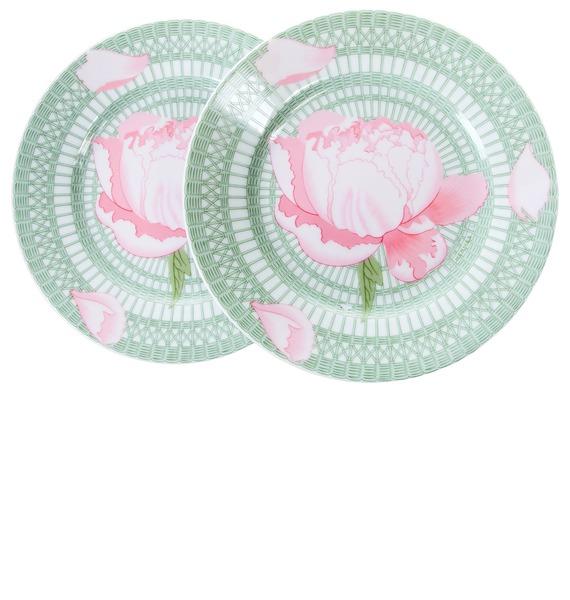Подарочный набор из 2-х декоративных тарелок Пионы HERMES – фото № 1