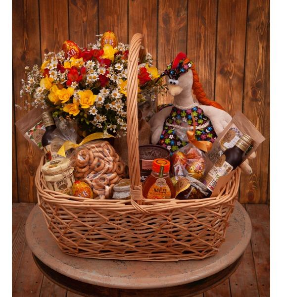 презент от айболита подарочная корзина с фруктами и сладостями Подарочная корзина Чай с мёдом