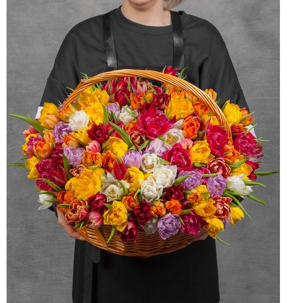 Композиция из разноцветных пионовидных тюльпанов (25, 51 или 101) букет из тюльпанов солнечный сюрприз 25 51 101
