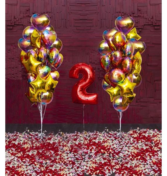 Оформление шарами Важная дата (2 варианта) композиция цветочная цифра любая цифра на ваш выбор