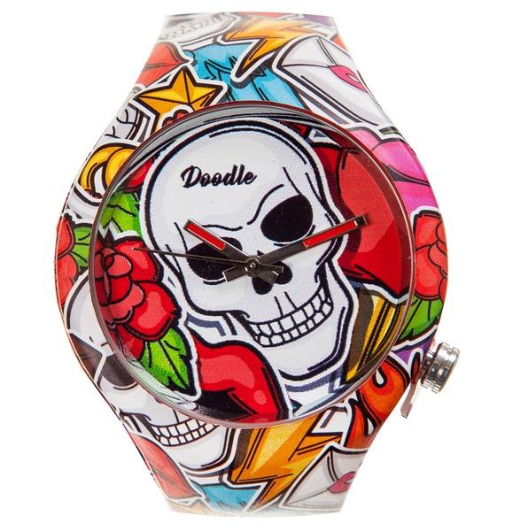 Часы Doodle Череп часы doodle белый череп